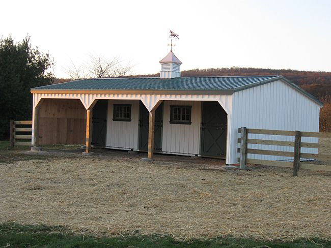 Horse shed with enclosed overhang gables horse barn for Lean to barn