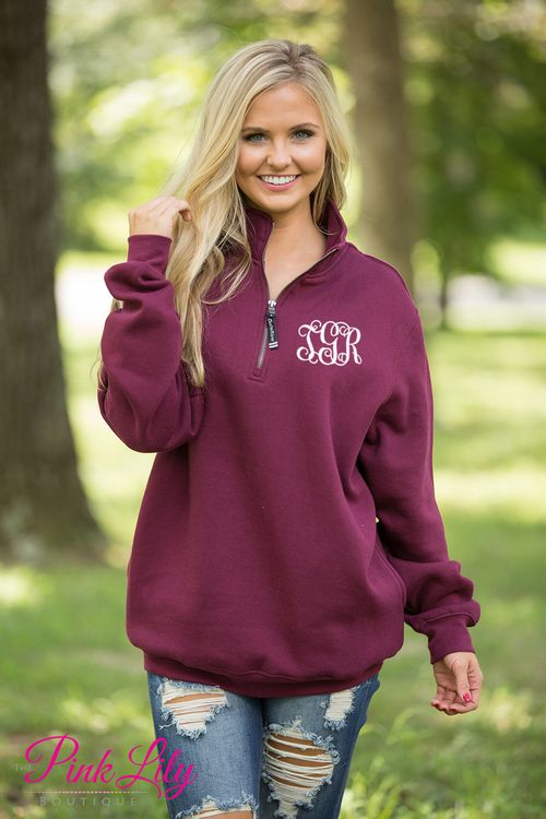 These beautiful quarter zips are your newest favorite for relaxing all season long! The soft sweatshirt material is so wonderful for wearing all day long, while the classic maroon color is simply perfect for the season!