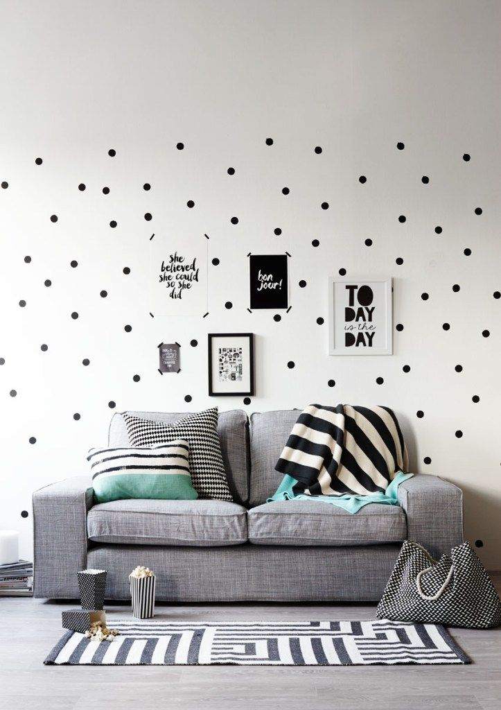 Monochrome and mint living room with dotty painted wall. Styling Pippa Jameson, Photography by Jo Henderson for Homestyle magazine