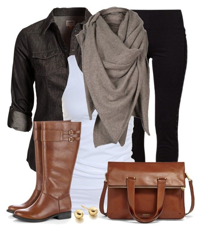 Today's Outfit by wishlist123 on Polyvore featuring polyvore fashion style ONLY Tusnelda Bloch Vero Moda Sole Society FOSSIL Astley Clarke AllSaints ootd