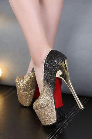 Sequins waterproof sexy heels