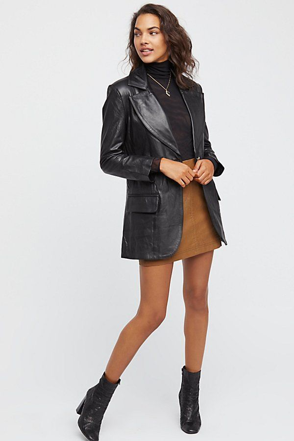Long Leather Blazer | Free People