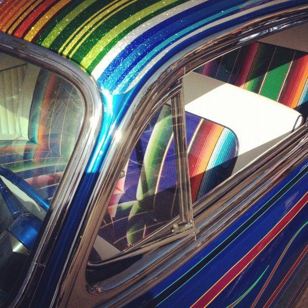 Zarape Pin Stripe On A Lowrider Arte Roof Paint