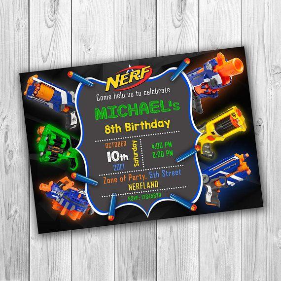 NERF invitation, Nerf Birthday invitation, Nerf Party invitation, Nerf Birthday, Nerf Wars Initation, Nerf Birthday Invite, NERF Party, Nerf Birthday Party, NERF Invite, Nerf Card