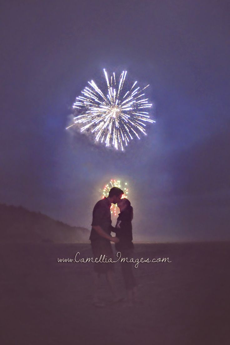 Fireworks Kiss Portrait at night (Camellia, meet Baby: My Beautiful Beach Session with the Turners ~ Tacoma Family Photographer)