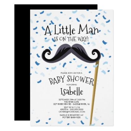 Modern Little Man Mustache Baby Shower Card - baby gifts child new born gift idea diy cyo special unique design