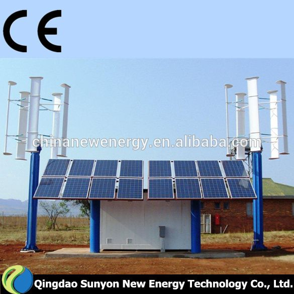 3kw Wind Solar Hybrid System Vertical Axis Wind Turbine Small Generators For Home Use Photo