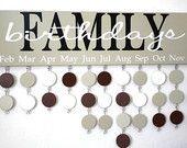Family Birthday Board Custom Wood Sign - Family Birthday Calendar Custom Wooden Sign