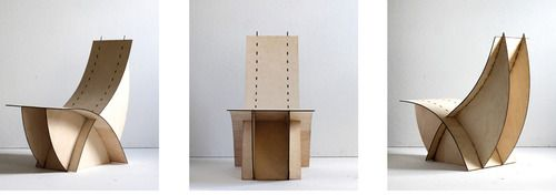 Petal Chair: inspired by the natural flow of the human spine and the organic shapes found in the natural world, I used simply 4 pieces slotted and joined together. Material: 4mm plywood laser cut