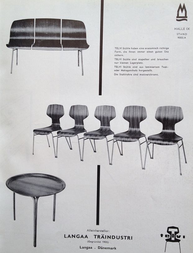 1958 advertisment Langaa Træindustri, bench and chair model Telvi: