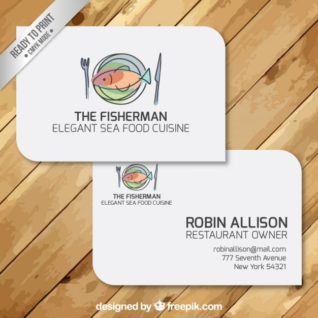 Business Cards Of Restaurant Free Vector