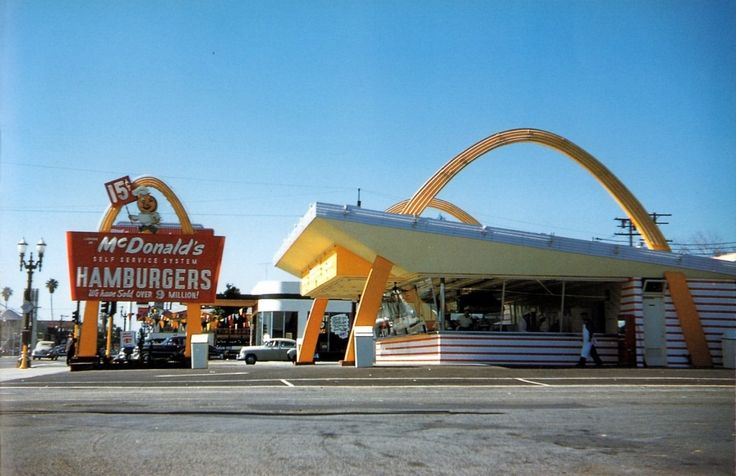 The first McDonald's in the San Fernando Valley, on Victory Boulevard at Coldwater Canyon in North Hollywood (1954). Note that, by the date of this image, only 9 million hamburgers had been served.