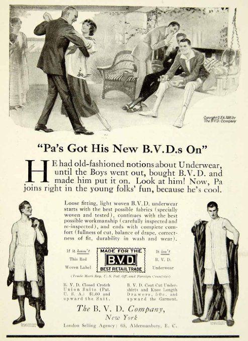 MENS UNDERWEAR: 1916. Helps to improve your dancing.