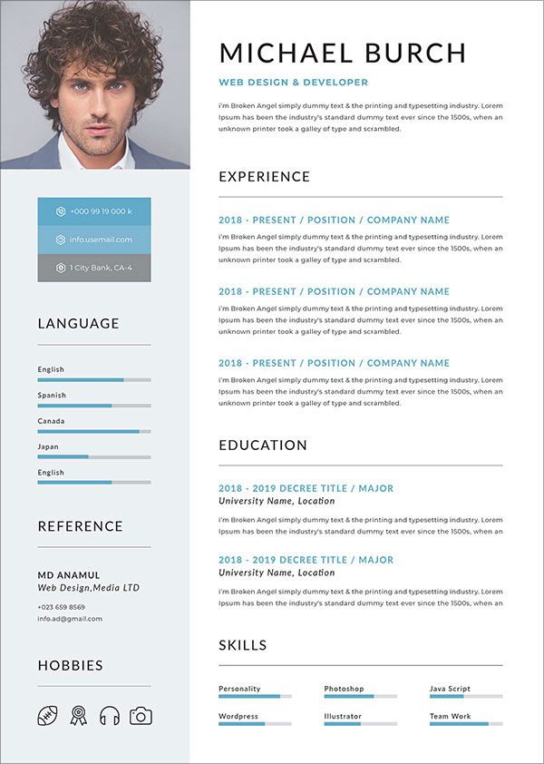 50 Free Resume Cv Template In Psd Ai Word Indd Sketch Xd For Graphic Web Designers Free Resume Template Word Resume Template Word Microsoft Word Resume Template