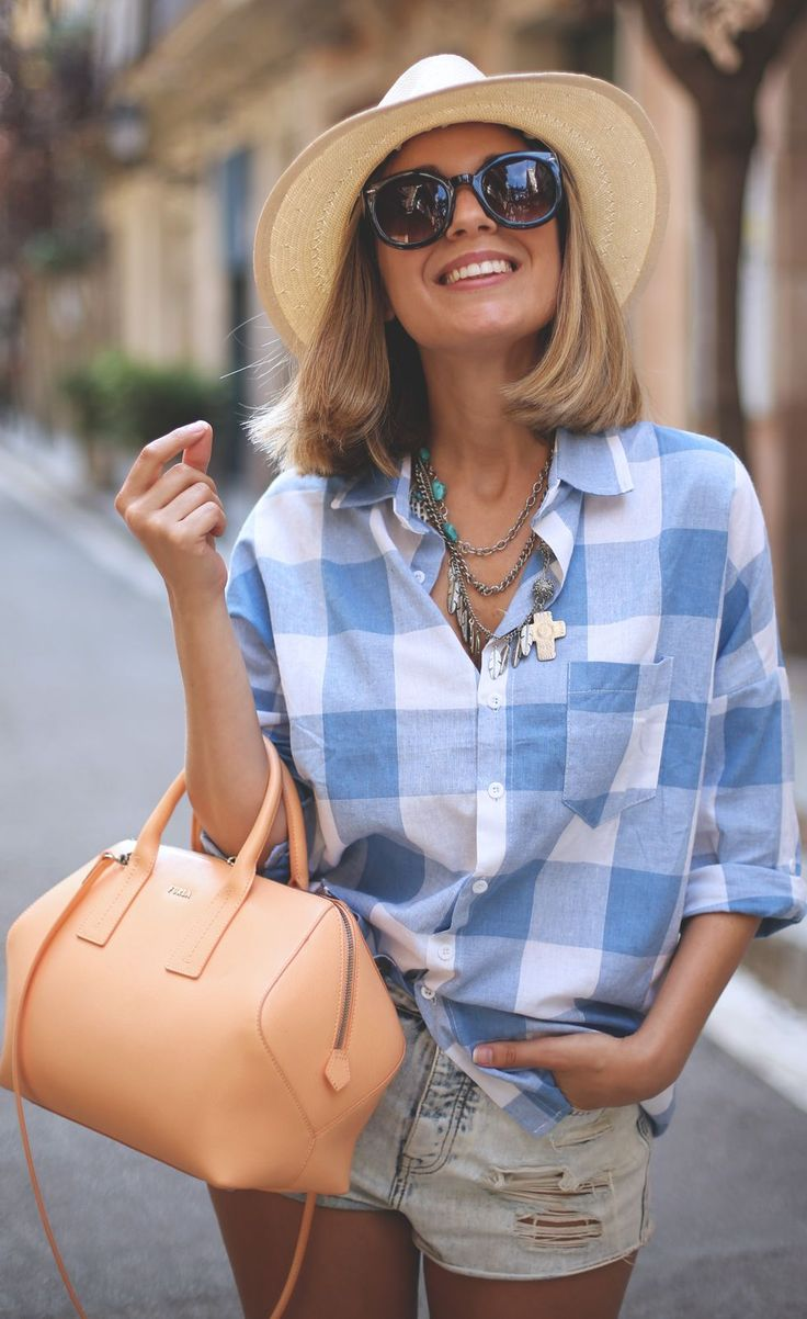 Sheinside White And Blue Flap Pocket Plaid Button Down by My Showroom Blog
