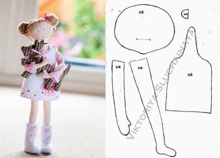 Muñecos Artesanales de tela.... (yaye! A cute doll pattern for free!!)..?