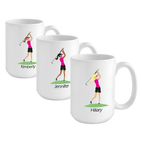 """Go-Girl"" Coffee Mug - Pressentz Gifts. Give her a nod of acknowledgement with this individualized 15oz coffee mug. Available for $20.45 from http://pressentz.com/wp-content/uploads/2013/11/gc837golfer__11972.jpg"