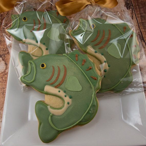 Bass Fish Cookies - 12 Decorated Sugar Cookie Favors