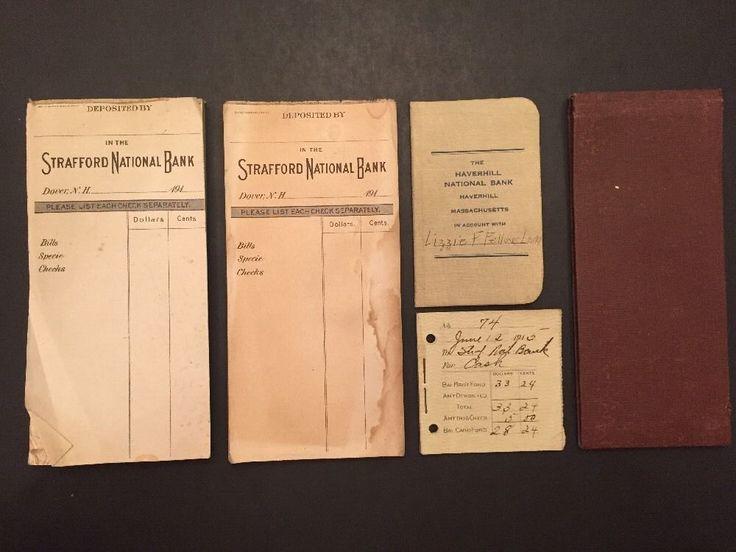 Vintage 1915 Banking Ephemera Paper Lot Strafford National Bank Deposit Slips    eBay