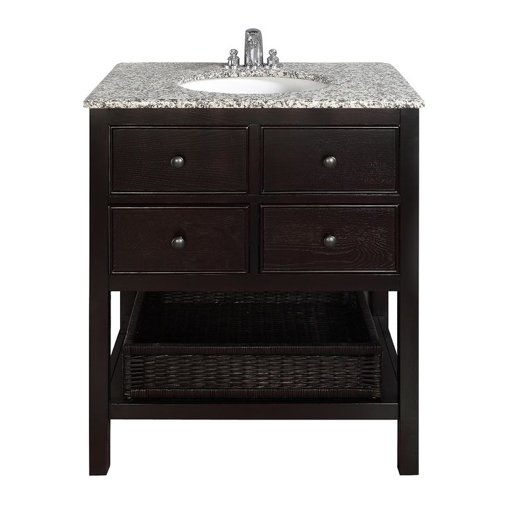 $569.99 The Simpli Home Burnaby Vanity Collection is defined by its casual contemporary look. The collection comes includes grey granite marble tops and oval white vitreous china sinks.