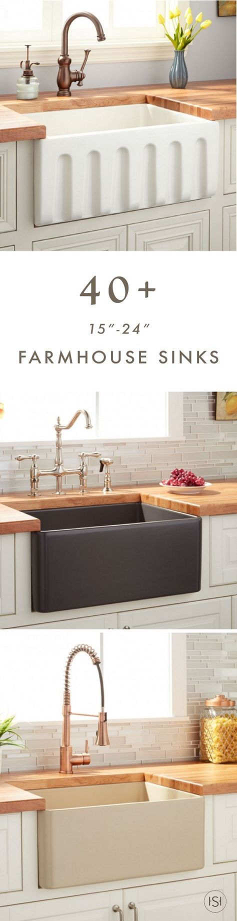 """We know you love farmhouse sinks. So, let all your kitchen renovation dreams come true by checking out this collection of more than forty 15""""-24"""" Farmhouse Sinks from Signature Hardware."""