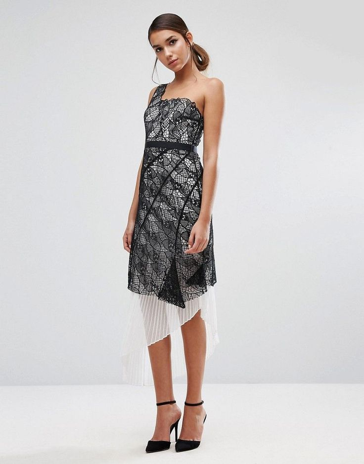 Three Floor One Shoulder Lace Dress with Pleated Skirt Underlay - Mult