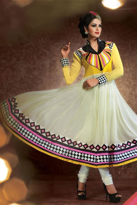 Divine Cream, Yellow Georgette  Resham Emboidered Ankle Length Anarkali Suit