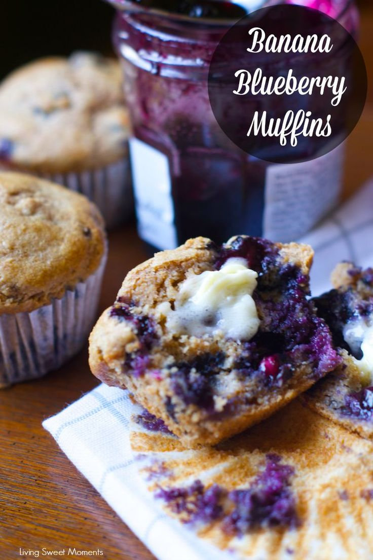 Banana Blueberry Muffins: these moist and flavorful muffins are made with whole wheat flour and wholesome ingredients for a satisfying breakfast or brunch. #ad