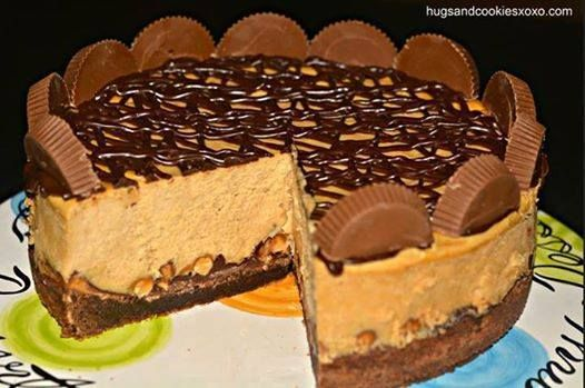 Reese's Peanut Butter Cup Cheesecake On A Brownie Crust'