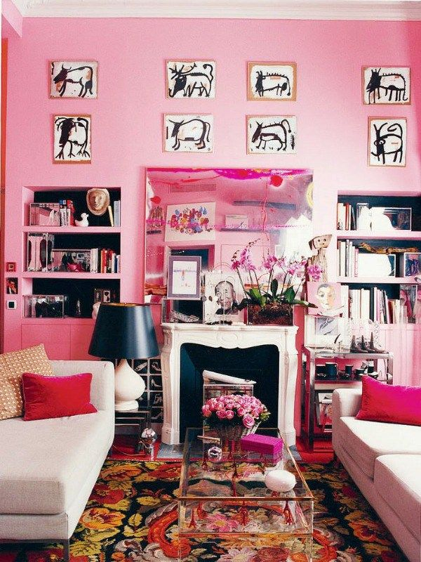 70 best Pink Interiors images on Pinterest | Bathroom, Living room ...