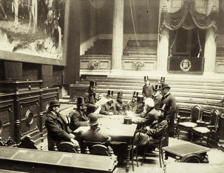 Commettee meeting in the ceremonial hall of the National Museum, where the House of Lord used to reside