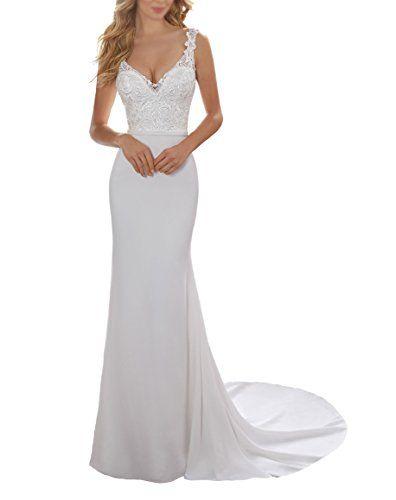 Chic Half Flower Bridal Women s Simple Lace Beach Bridal Dress Ivory Simple  Long Formal Wedding Dresses online.   94.99  nanaclothing from top store 6b4b2422cf