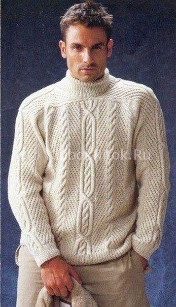 Свитер реглан-погон | Вязание мужское | Вязание спицами и крючком. Схемы вязания.