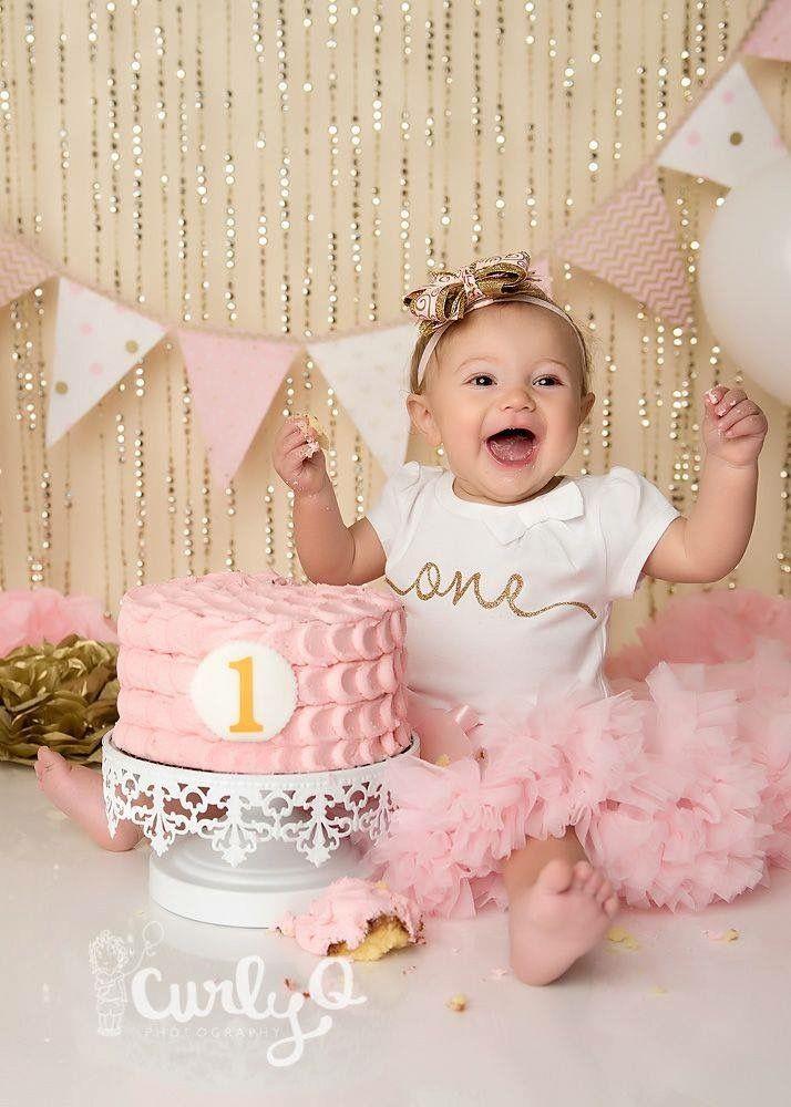 Pink Gold Cake Smash With Images Smash Cake Photoshoot 1st