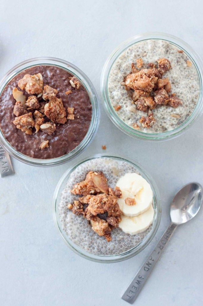 SALTED PEANUT CHOCOLATE CLUSTER CHIA PUDDINGS-IngredientsBanana Chia Pudding1/2c coconut milk, or dairy free milk of choice (So Delicious Unsweetened Vanilla Coconut Milk)*2 TBSP chia seeds (Navitas Naturals)1/2 mashed banana1/2 tsp vanilla, optional1/4c WholeMe Salted Peanut Chocolate ClustersChocolate Chia Pudding1/2c coconut milk, or dairy free milk of choice (So Delicious Unsweetened Vanilla Coconut Milk)*2 TBSP chia seeds (Navitas Naturals)2 TBSP cacao powder (Navitas Naturals)sweetener…
