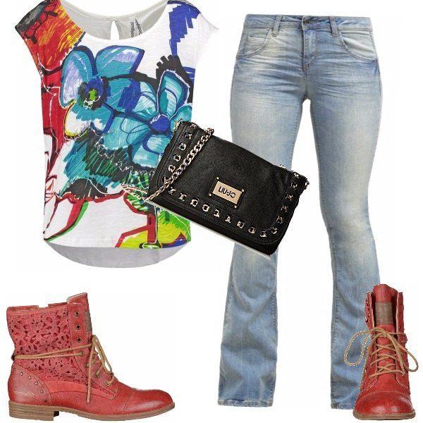 La stampa creativa dai colori vivaci su questa t-shirt rende l' outfit casual più sbarazzino e giovanile adatto al tempo libero o per la scuola, in abbinamento dei jeans bootcut a zampa, dei stivaletti rossi e una tracolla con catenella molto fashion.