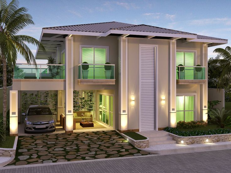 Fachadas de casas modernas com paisagismo e iluminação!
