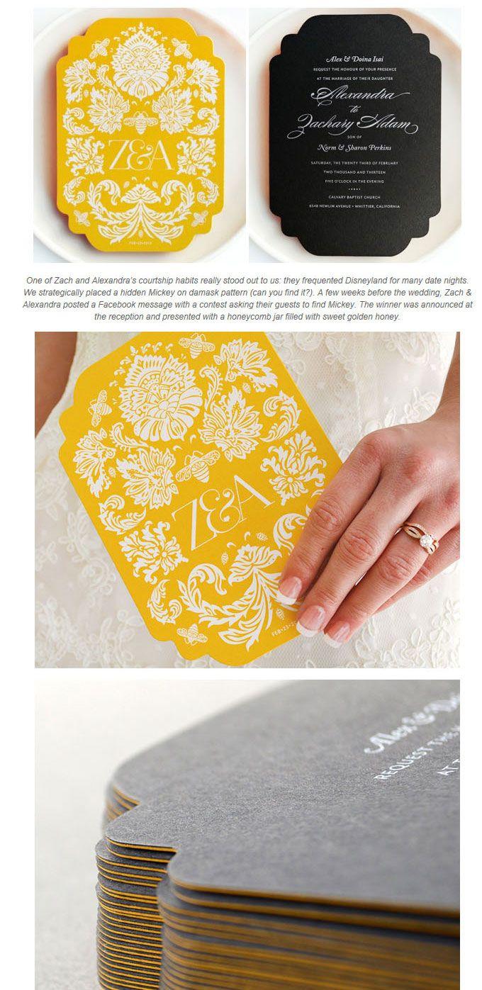 イエロー&ブラックが個性的なかっこいい招待状デザイン  | Weddingcard.jp