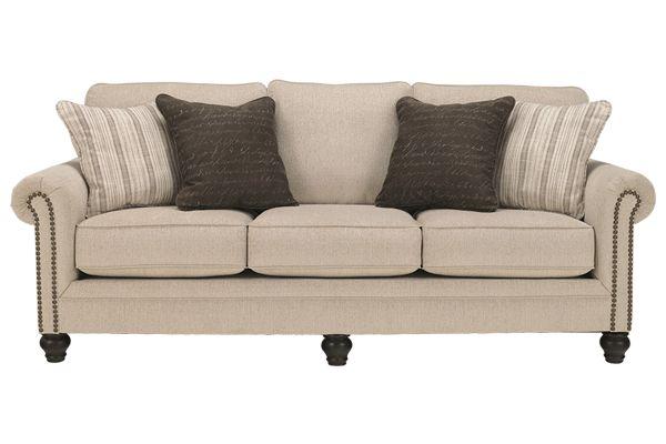 Vintage modern sofa light tan studded arms soft seats for Studded sofa