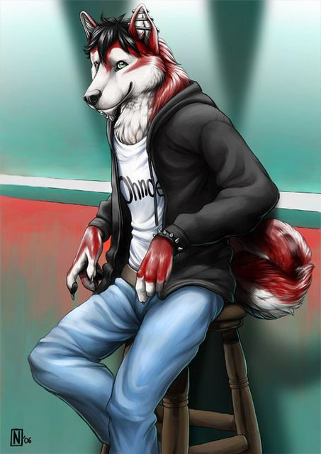 Anthro Male Wolf