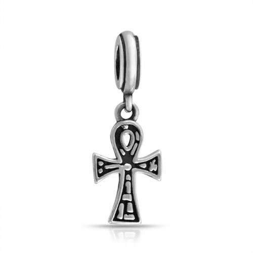 Ankh Cross 925 Sterling Silver Dangle Bead Pandora Compatible Charm