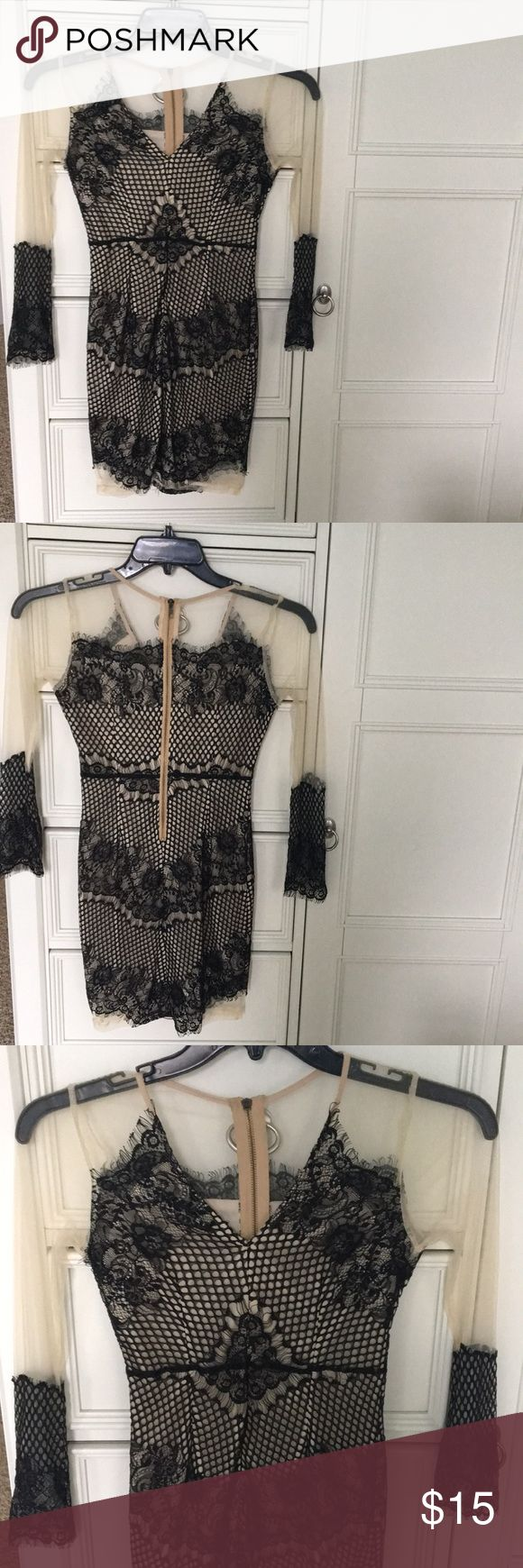 Boohoo Party Dress Black and sheer party dress Only worn once Boohoo Petite Dresses Long Sleeve