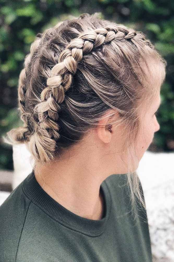 Pin By Sarah Hunter On Good Hair Day Cute Braided Hairstyles Short Hair Updo Short Hair Trends