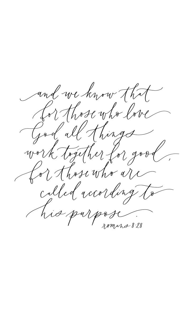 Romans 8 28 calligraphy quote handlettering