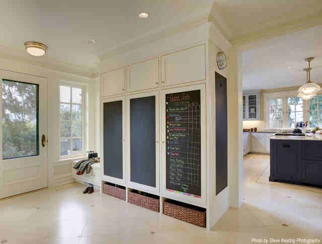 mudroom/playroom combo: storage/chalkboard closet/baskets