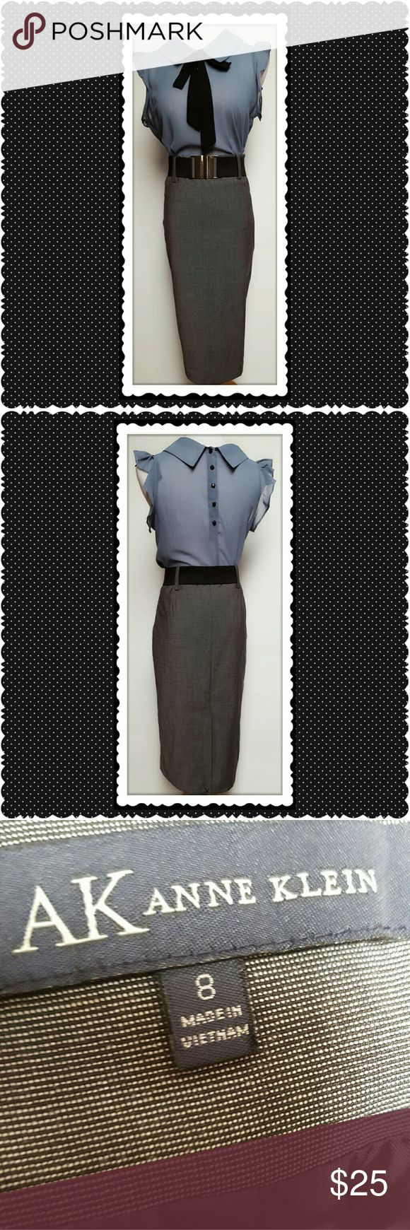 Anne Klein Gray Pencil Skirt Anne Klein Gray Pencil Skirt. Form fitting, high waisted skirt. Back accent slit. Side zip closure. Perfect, no flaws. NWOT. Anne Klein Skirts Pencil