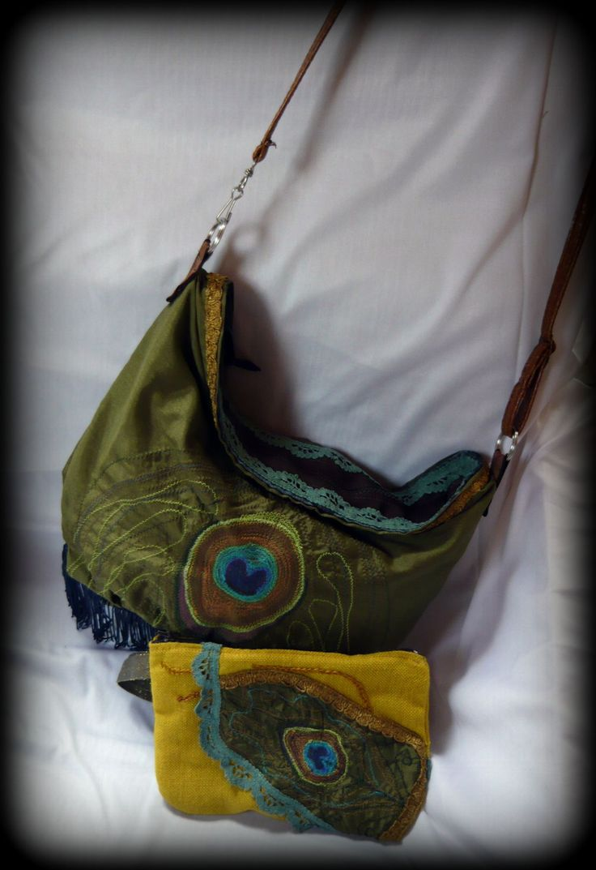 Handmade by Judy Majoros - Green embroidered fringe peacock hobo bag. Crossbody bag. Shoulder bag. Recycled bag