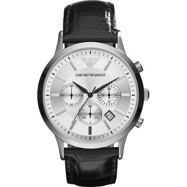 Emporio Armani Classic Watch - Black - Men's Watches ($295) ❤ liked on Polyvore featuring men's fashion, men's jewelry, men's watches, black, mens chronograph watch, mens chronograph watches, mens watches jewelry and emporio armani mens watches