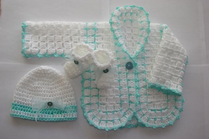 Baby Boy Crochet Sweater Hat Booties Set