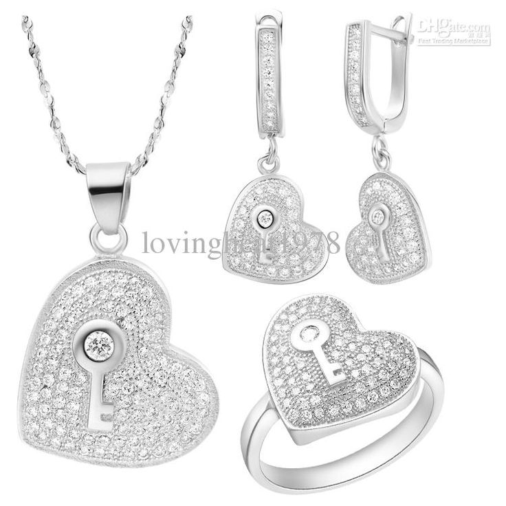 Wholesale Gold Jewelry - Buy White Austrian Crystal Platinum Plated Heart Jewelry Set Necklace ,earring , Ring ,Jewelry Set T115, $21.02 | DHgate